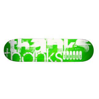 Thanks; Neon Green Stripes Custom Skateboard