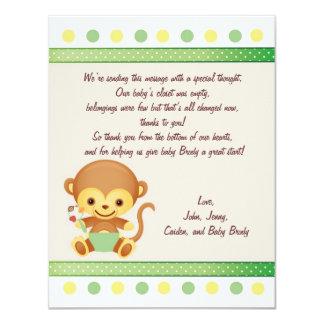 Thanks Note Baby Monkey 11 Cm X 14 Cm Invitation Card