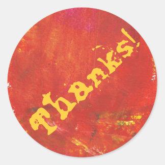 Thanks! Red Grunge Abstract Artwork Classic Round Sticker