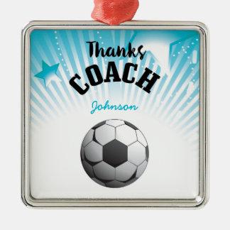 Thanks Soccer Coach Aqua Blue Stars Ball Christmas Ornament