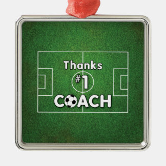 Thanks Soccer Coach Grass Field Silver-Colored Square Decoration