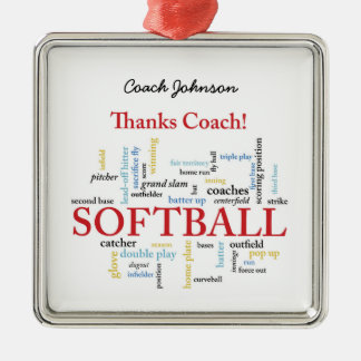 Thanks Softball Coach Words From Group, Team, Red Christmas Ornament