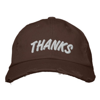 THANKS - Thanksgiving Hat - Chocolate Embroidered Hat