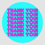 Thanks to Her : Cute Girly Pink Cyan Thank You Round Stickers