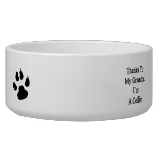 Thanks To My Grandpa I'm A Cellist Dog Bowl
