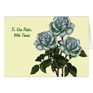 Thanks To Pastor: Three White Roses: Art Greeting Card