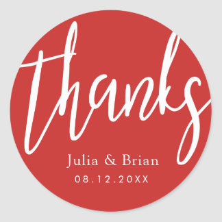 Thanks Typography Scarlet Red Wedding Classic Round Sticker