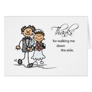 Thanks, Walking Me Down Aisle Wedding Stick Figure Greeting Card