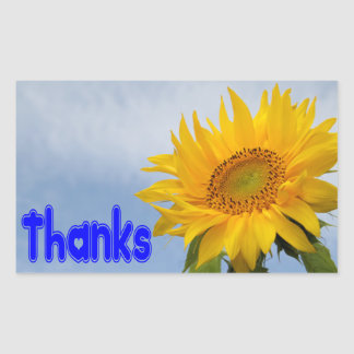 Thanks Yellow Sunflower Floral Greeting Stickers