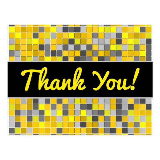 Thanks + Yellows and Greys Tiled Squares Pattern