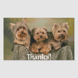 Thanks Yorkshire Terrier Puppy Dogs Sticker
