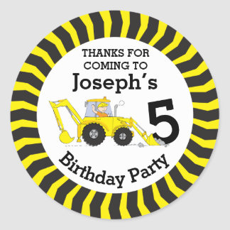 Thanks you kids construction birthday sticker