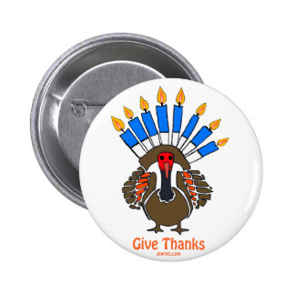 Thanksanukkah Thanksgivukkah  turkey menorah gift 6 Cm Round Badge