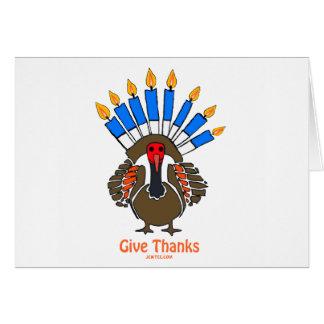 Thanksanukkah Thanksgivukkah  turkey menorah gift Greeting Cards
