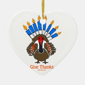 Thanksanukkah Thanksgivukkah  turkey menorah gift Ceramic Heart Decoration