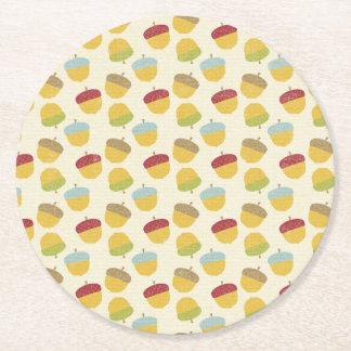 Thanksgiving Acorn Pattern Round Paper Coaster
