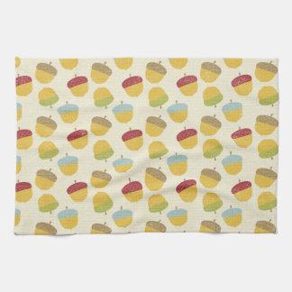 Thanksgiving Acorn Pattern Tea Towel