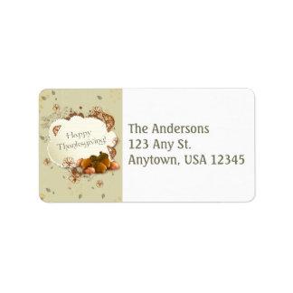 Thanksgiving Address Label with Acorns