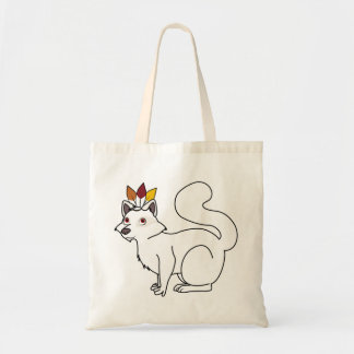 Thanksgiving Albino Raccoon with Indian Headdress Budget Tote Bag