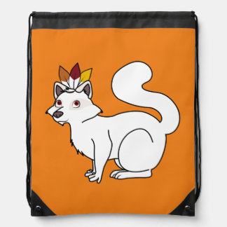 Thanksgiving Albino Raccoon with Indian Headdress Drawstring Bags