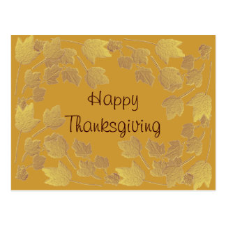 Thanksgiving Antiqued Gold Bas Relief Maple Leaves Postcard