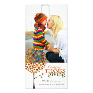 Thanksgiving Autumn Fall Leaves Pop Tree Photocard Card