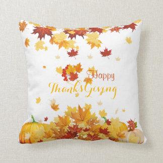 Thanksgiving Autumn Falling Leaves and Pumpkins Cushion