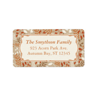 Thanksgiving Autumn Harvest Fall Foliage Label Address Label