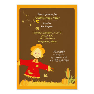 Thanksgiving Autumn Harvest Scarecrow Invitation