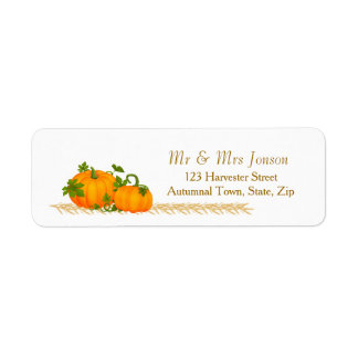 Thanksgiving, autumn harvest, two pumpkins Label Return Address Label