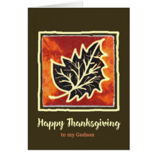Thanksgiving Autumn Leaf Card for Godson