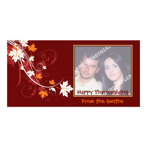 Thanksgiving autumn leaf-maple custom products photo card template