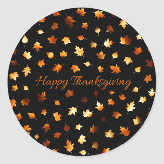 Thanksgiving Autumn Leaves Classic Round Sticker