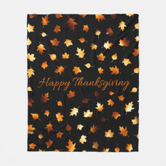 Thanksgiving Autumn Leaves Fleece Blanket