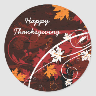 Thanksgiving autumn leaves-maple custom products classic round sticker