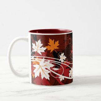 Thanksgiving autumn leaves-maple custom products Two-Tone coffee mug