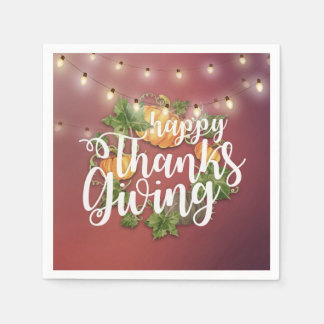 Thanksgiving Autumn Leaves Pumpkins String Lights Disposable Napkins