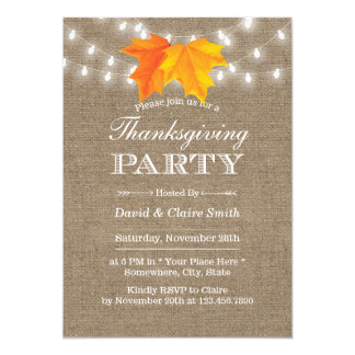 Thanksgiving Autumn Leaves String Lights Burlap Card