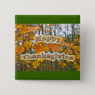Thanksgiving Autumn Maple Foliage 15 Cm Square Badge