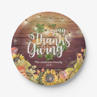 Thanksgiving Autumn Maple Leaves Pumpkin Sunflower Paper Plate