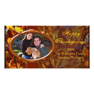 Thanksgiving Autumn Photo Card, Custom Greeting