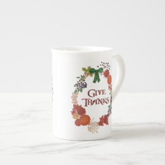 Thanksgiving Autumn Wreath to Customise Tea Cup