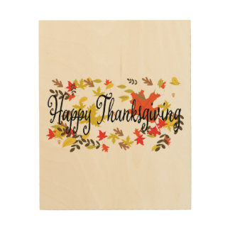Thanksgiving backgrounds. Autumn leaf foliage wate Wood Wall Decor