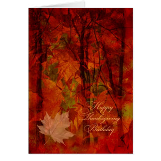 Thanksgiving Birthday/Autumn Leaves Collage Greeting Card