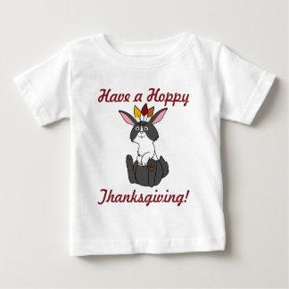 Thanksgiving Black & White Rabbit with Headdress Baby T-Shirt