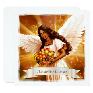 Thanksgiving Blessings. Afro Angel Flat Cards 13 Cm X 13 Cm Square Invitation Card