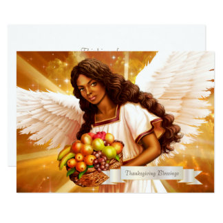Thanksgiving Blessings. Afro Angel Painting Cards 13 Cm X 18 Cm Invitation Card
