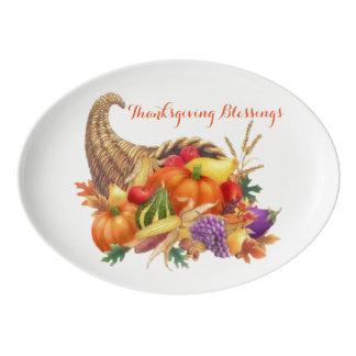 Thanksgiving Blessings Cornucopia Serving Platter