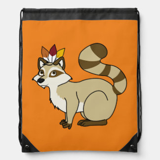Thanksgiving Blonde Raccoon with Indian Headdress Drawstring Backpack