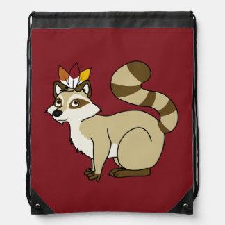 Thanksgiving Blonde Raccoon with Indian Headdress Drawstring Bag